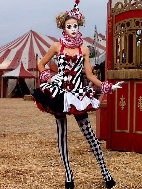 womens sexy deluxe harlequin clown costume - Girl Clown Halloween Costumes