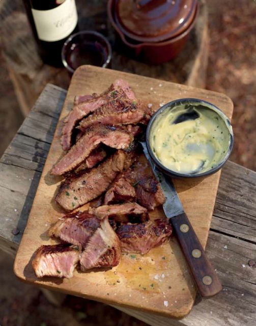 Rump steak with garlic butter from Jan Braai's new cookbook, Fireworks.