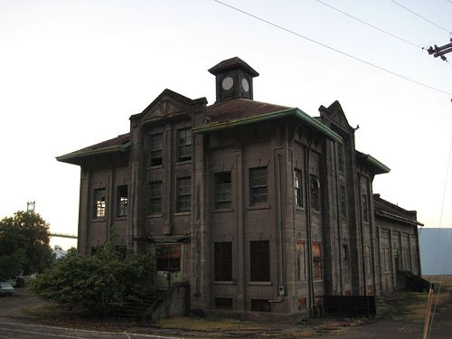 The abandoned NW Natural building by the St. Johns bridge. Linnton Oregon(north Portland) A security guard watches 24 hours a day everyday