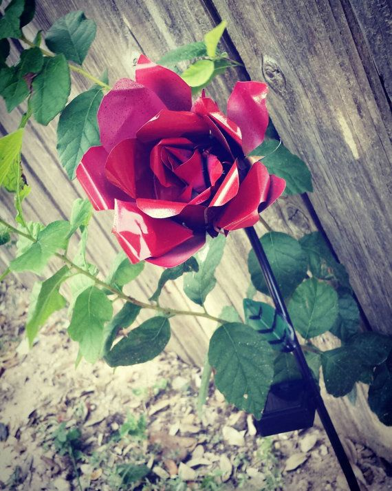 Long Stem Roses - Metal Garden Stakes