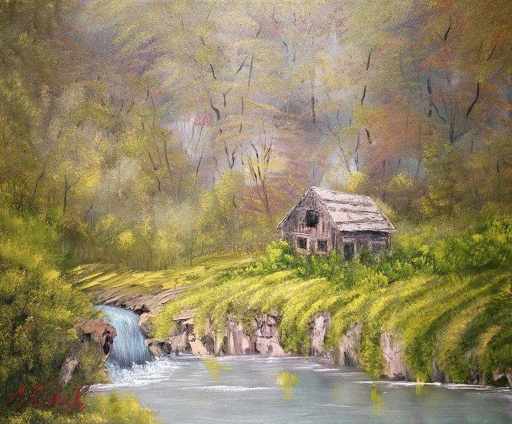 (c) Cabin by the Fall by Marwan Kishek - Oil on canvas 20