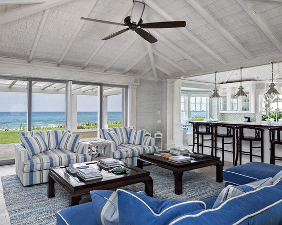 Delightful Beach House In Bright Color : Astonishing Beach Style Living  Room Blue Sofa Florida Beach