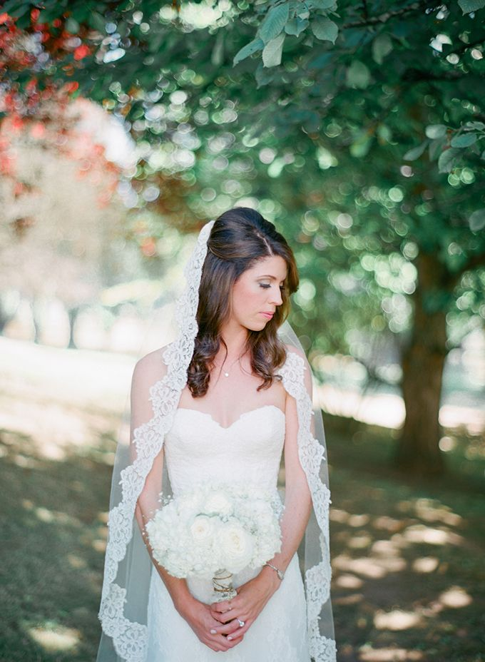 vintage farm wedding | Blue Rose Photography | Glamour & Grace , bride with vintage lace veil, half up half down hair. whidbey island wayfarer farm. Film Contax 645 fuji 400h