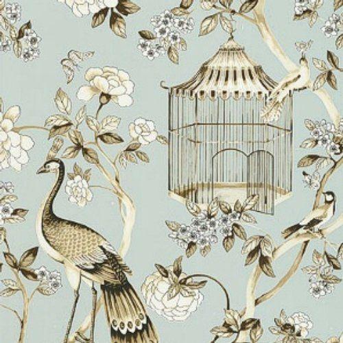 Schumacher Oiseaux et Fleurs Mineral Wallpaper
