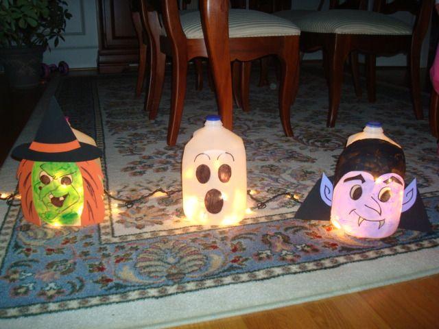 Milk Carton Halloween Crafts Part - 27: Halloween Decorations (milk Jugs!)