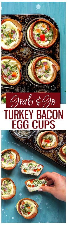 These Grab & Go Turkey Bacon Egg White Cups are a delicious grab and go breakfast idea filled with veggies – and they're ready in just 25 minutes!