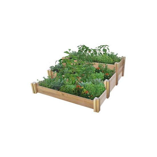 DIY Raised Garden Kits: Gronomics really raised the bar with this rustic garden base. The three tiers create ultimate organization dependent on your garden needs, especially if different soils or irrigation is required. Somehow, no tools are needed to assemble!