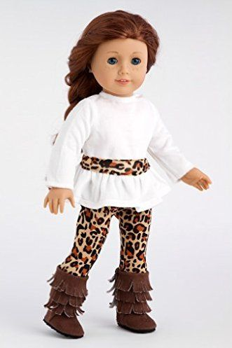 DreamWorld Collections Fashion Safari - Ivory velvet tunic with cheetah leggings and fringed boots - 18 Inch American Girl Doll Clothes : Ca...