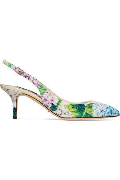 DOLCE & GABBANA Floral-Print Glossed-Leather Slingback Pumps. #dolcegabbana #shoes #pumps