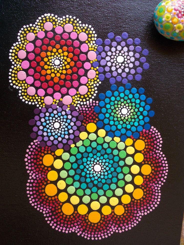 Set~Mandala Painting, Mandala Stone, Matching Set, Dot Mandala Painting, Dot…