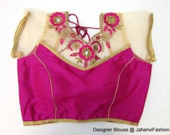 Golden designer saree blouse with zari neck by JahanviFashionShop