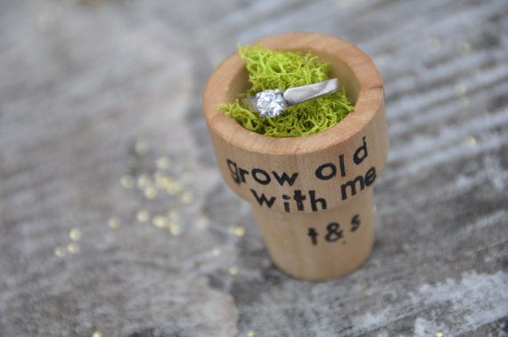 Personalized Engagement ring box wedding proposal by laceandtwig