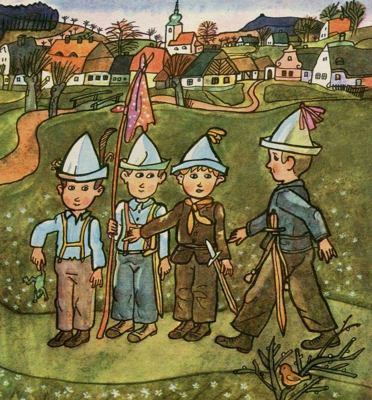 April - Chidren's games - pretending to be soldiers. Duben – Kluci si hrají na vojáky.