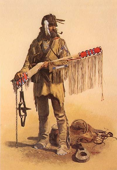 """The Ulster immigrant began to transform on the frontier.  """"The clothes he brought fm Ireland wore out quickly as he moved through heavy undergrowth...Much of his first year's food supply came fm hunting...so animal skins replaced cloth.  And being highly adaptable, he took on an Indian style of dress, hunting shirt, deerskin breeches, coonskin cap and moccasins...he allowed his hair to grow long...Within a year on the frontier, the transformation would be complete.""""  (""""God's Frontiersmen""""…"""