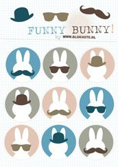 Free funny bunny printable from Bloknote.nl.
