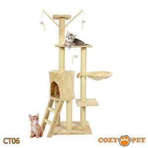 Cozy Pet Deluxe Multi Level Cat Tree Scratcher Activity Centre Scratching Post Toys with Heavy Duty Sisal in Beige CT06: Amazon.co.uk: Pet Supplies