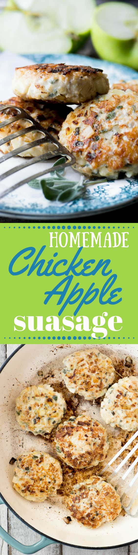 My Homemade Chicken Apple Sausage recipe is an easy way to make your own fabulously fresh sausage at home ~ it freezes beautifully, too, so be sure to make extra so you can enjoy it anytime ~ theviewfromgreatisland.com
