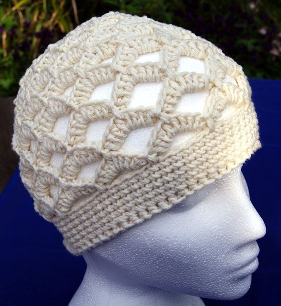 "Hand crochet retro style beanie hat in ""Fresh Cream"". Scalloped boho hippie 70s-style crochet hat. Cotton hat. Summer hat. Beach, kufi hat"