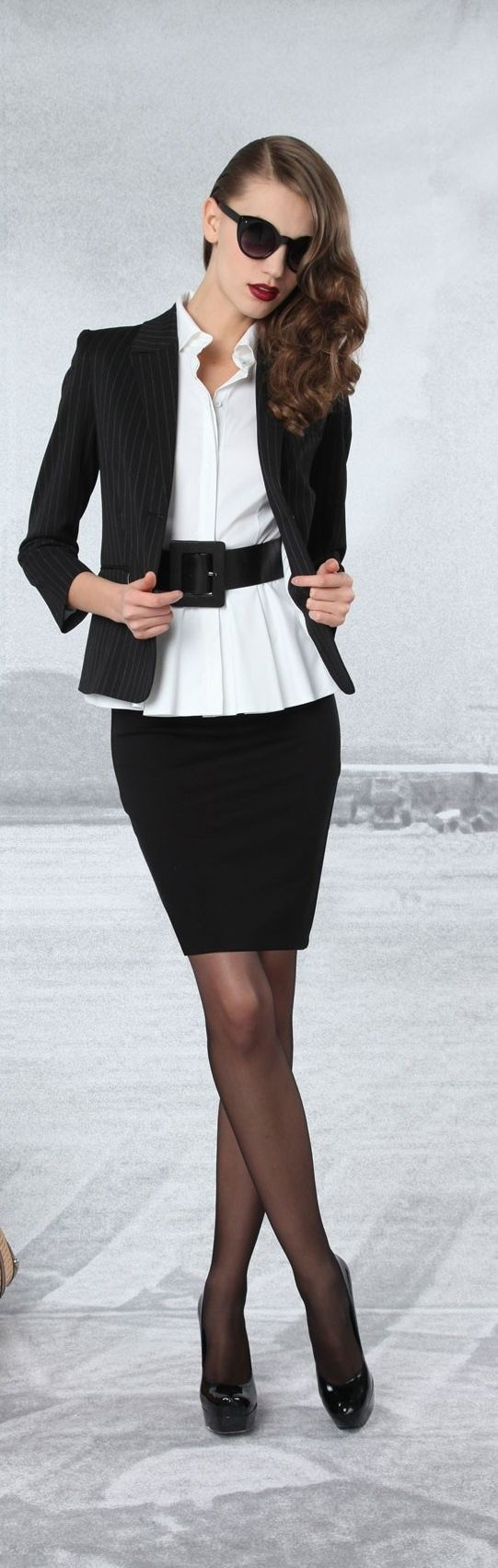 Alice and Olivia ~ pencil with cropped blazer + wide black belt + sheer black hosiery