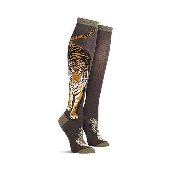 Fierce Tiger Knee High Socks Womens ❤ liked on Polyvore featuring intimates, hosiery, socks, striped knee socks, green knee socks, striped knee high socks, green striped socks and cotton socks