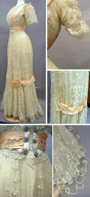 Beige lace and satin dress, ca. 1900s. Trim is pale orange...