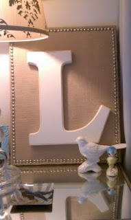 Monogram Letters on Burlap. I love the simplicity of this. If neutrals are your color preferences in your room, this is perfect.