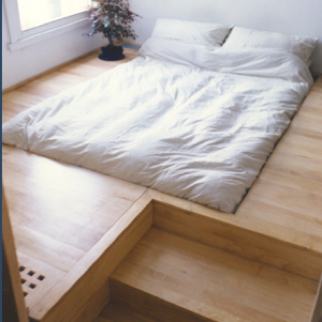 Credit: Tumblr White bed built into the floor