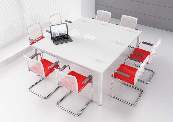 BUSY stół konferencyjny dla 8 osób. Dostępne stoły w formie kwadratu i prostokąta. Kolor blatów i podstaw do wyboru.