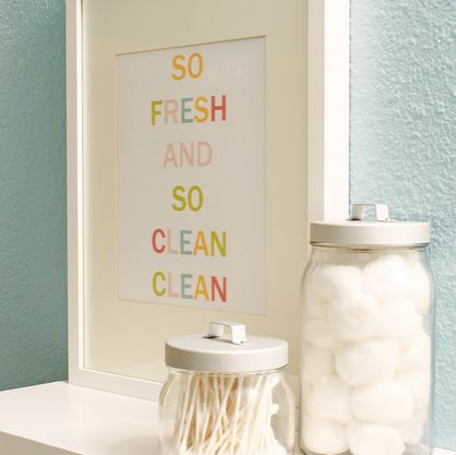 Ha! This is what I say to G after changing his diaper!  Bathroom Printable Art from Two Twenty One