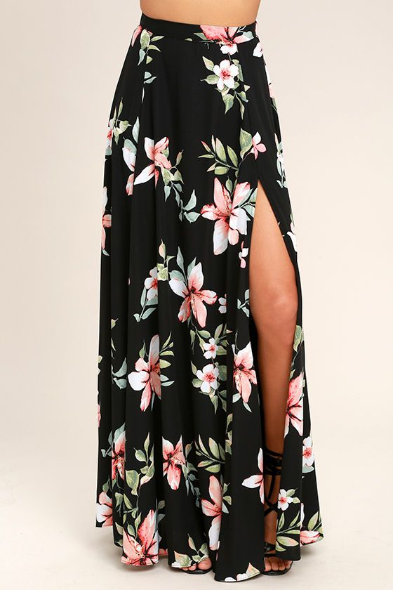 Lulus Exclusive! We've found our happy place in the Barefoot at the Beach Black Floral Print Two-Piece Maxi Dress! Soft and breezy woven poly swings from spaghetti straps to a wide-cut crop top with a lace-up back, and pink, red, and green floral print. Pair with the high-waisted maxi skirt boasting a full A-line silhouette and sexy side slit. Elastic at back for fit, and hidden zipper.