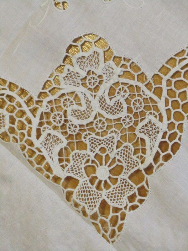 Gorgeous Needle Lace Banquet Tablecloth Emb 12 Napkins Set Unused 100 x 68   eBay