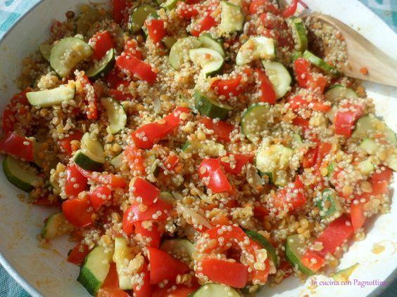 #Quinoa con #zucchine e #peperoni