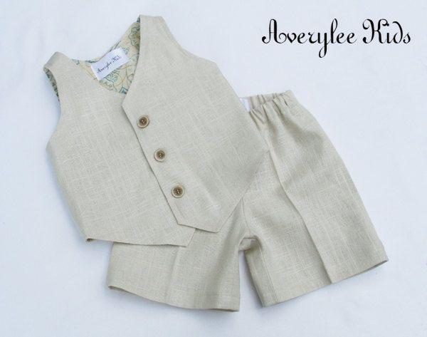 Boys Linen Suit  Boys Natural Linen Suit Vest and by AveryleeKids, $64.50