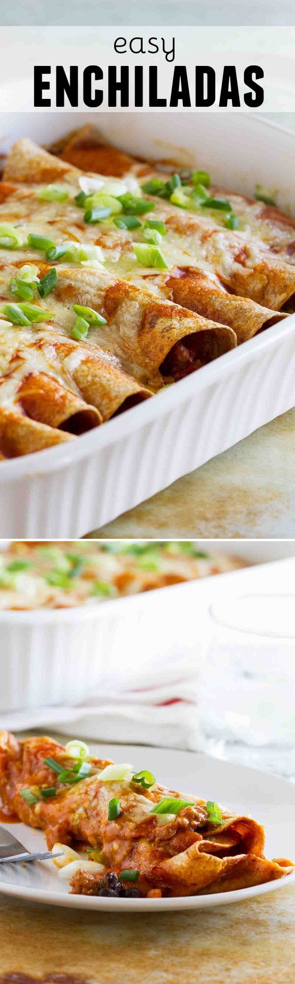 Filled with sausage, beans and veggies, these Easy Enchiladas are easy enough for a weeknight. These enchiladas are mild enough for the whole family!