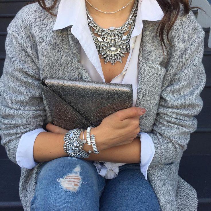 beautiful blouse, cardigan and jewelry from Stella & Dot