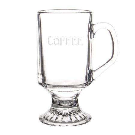 Cathy's Concepts 10 oz. Irish Glass Coffee Mugs (Set of 4), White