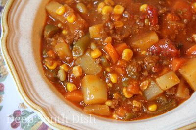 Ground Beef Stew, a long-time staple in my house ~ ground meat; frozen mixed vegetables; diced potatoes, rice, or pasta; a can of tomatoes &/or Ro-Tel; V-8 juice (optional); Worcestershire, salt & pepper to taste.  This is pretty adaptable to whatever is on hand. #hamburger_soup