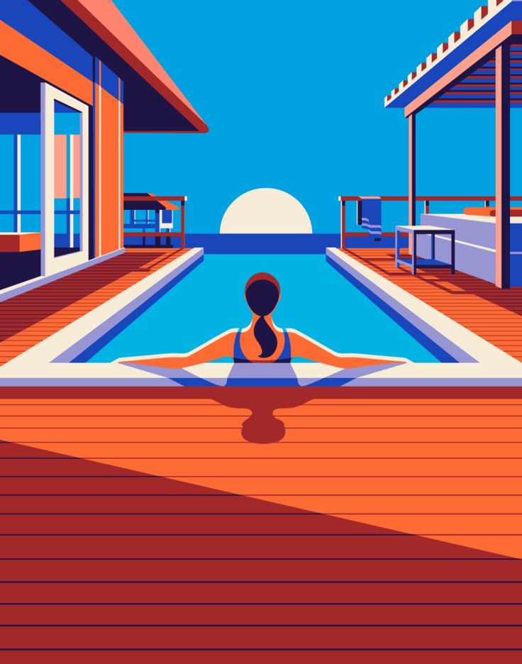 Malika Favre - Odyssée series for Kuoni France travel brochure 2016  - pool • un-kitchy, classic art poster style à la Art Deco & Bagel cocktail • french graphic illustrator • official site: http://malikafavre.com