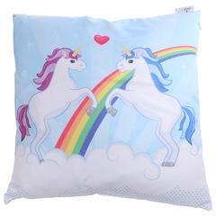 £15.50 - Unicorn Couple Cushion. Lavender and Cornflower love racing each other over the rainbow. Lavender usually wins but Cornflower has been practising and practising and thinks she will win today.