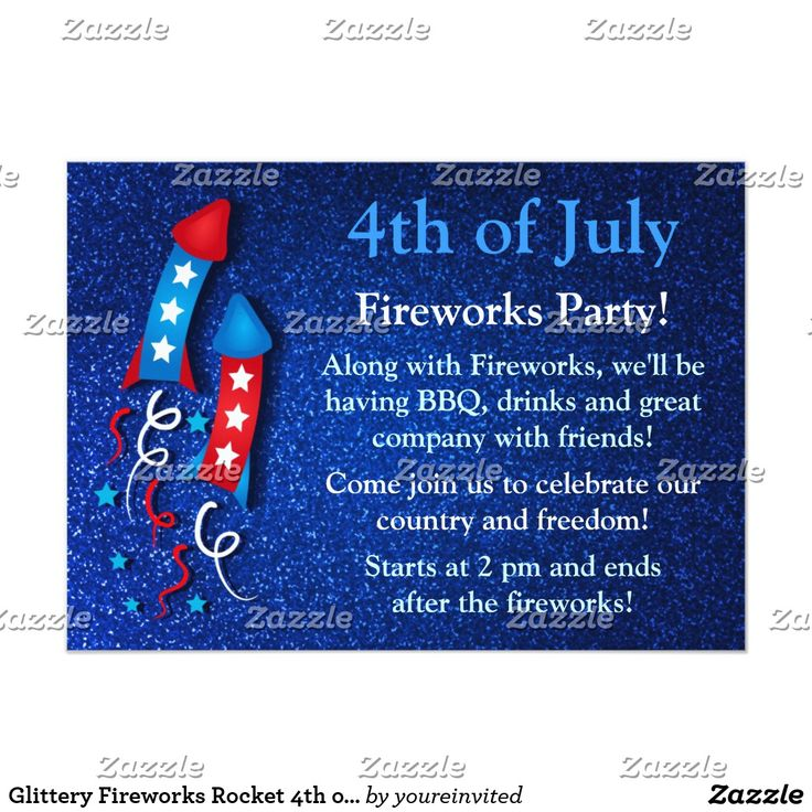 Glittery Fireworks Rocket 4th of July Invitations