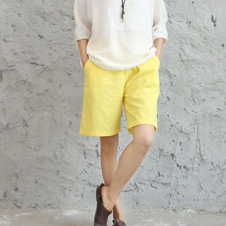6 colors 2017 casual summer shorts for women fluid loose solid color elastic waist linen short feminino Pantalones cortos #Affiliate
