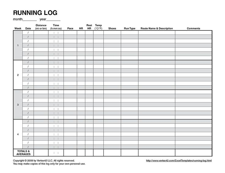 running  logs and free printable on pinterest