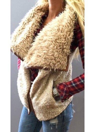 Khaki Turndown Collar Pocket Design Waistcoat | modlily.com
