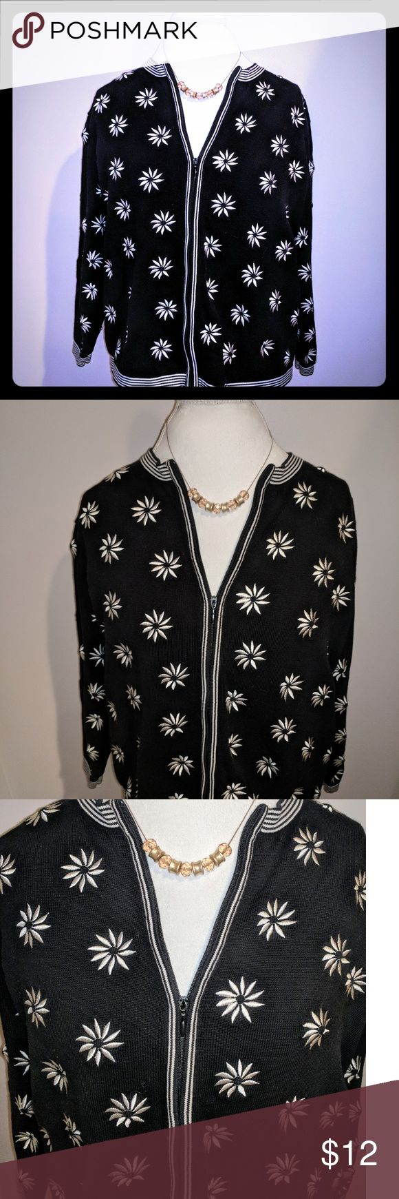 Talbot's Petite Zip Up Sweater Embroidered cream colored flowers, lovely detail and perfect for a casual or dressy occasion. Size is 1X but looks more like a L to me. Clean and from a smoke free home. Talbots Jackets & Coats