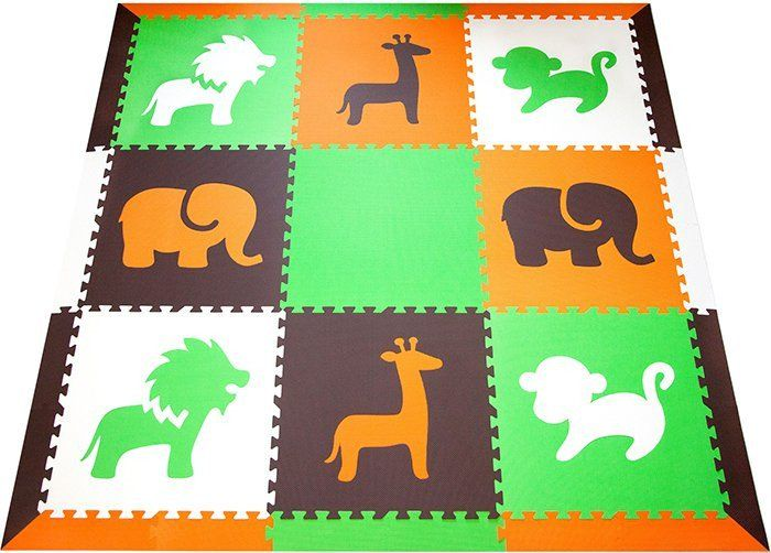 SoftTiles Safari Animals Kids Play Mat Sets with Borders Orange, Lime, Brown, White