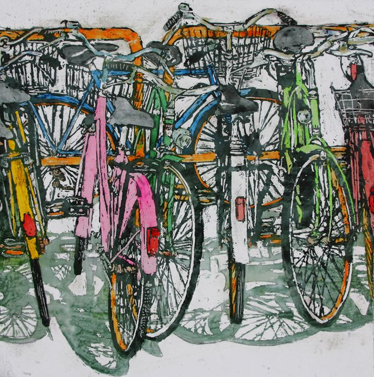 "lido bikes (63)  18"" x 18`x 1.75` micheal zarowsky / Mixed media (watercolour / acrylic painted directly on gessoed birch panel) Available $600.00"