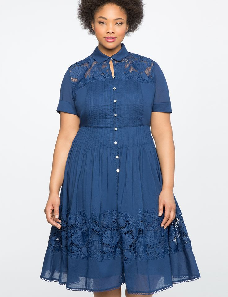 Teresa for ELOQUII Fit & Flare Shirtdress with Lace | Women's Plus Size Dresses | ELOQUII