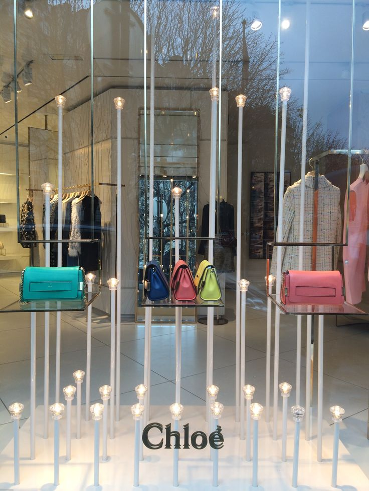 'Chloe' displaying their adorable bags with unique lighting sculptures at Gorge IV street in Paris