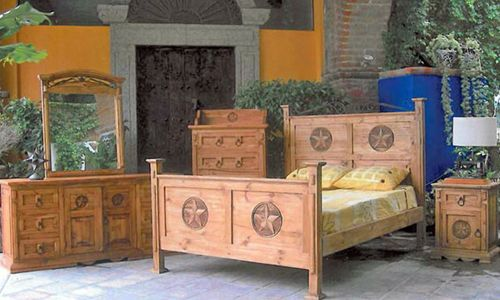 4 PC Rustic Natural Wax San Gabriel Full Size Bedroom Set with Star