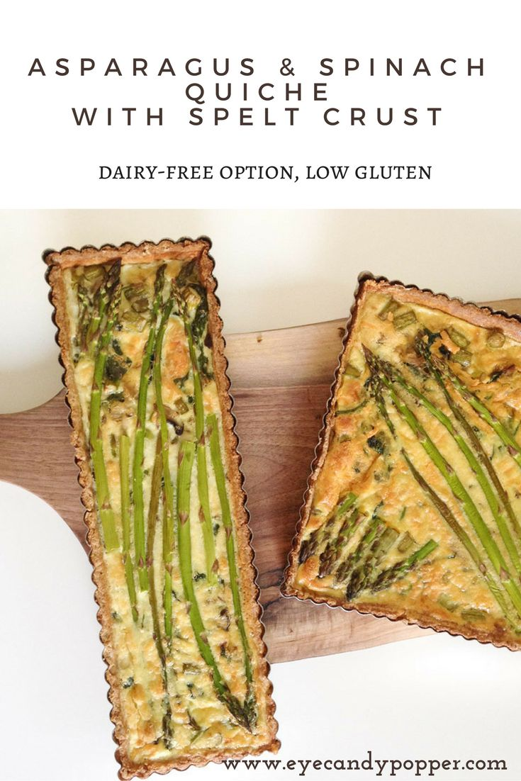 Asparagus and spinach quiche with spelt crust (dairy-free option, low gluten) via @eyecandypopper